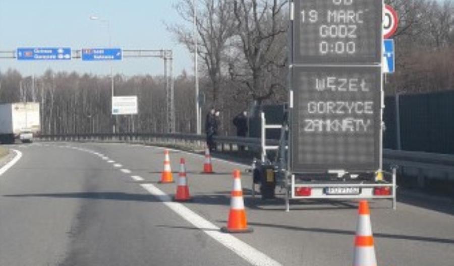Nie wjedziemy na węzeł Gorzyce w ciągu A1. Chodzi o uszczelnianie granic