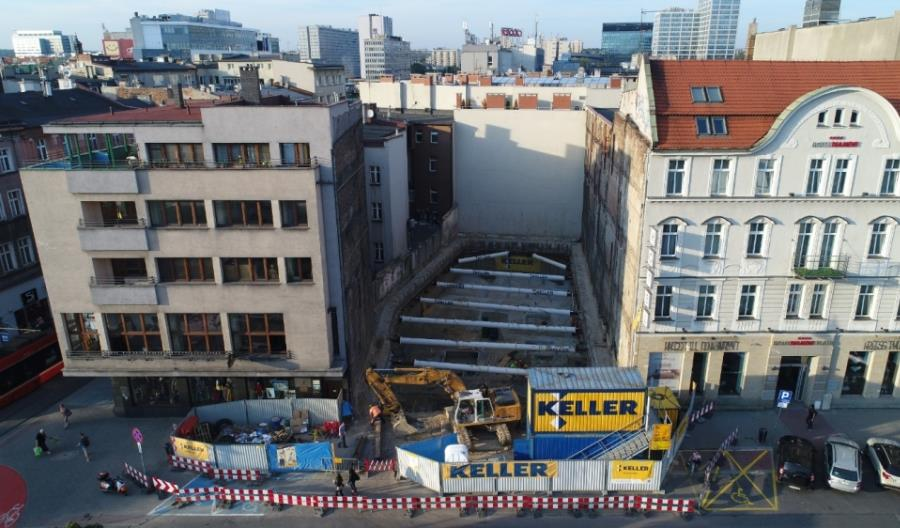 Zabezpieczenie wykopu oraz posadowienie fundamentów w ramach rozbudowy Hotelu Diament w Katowicach