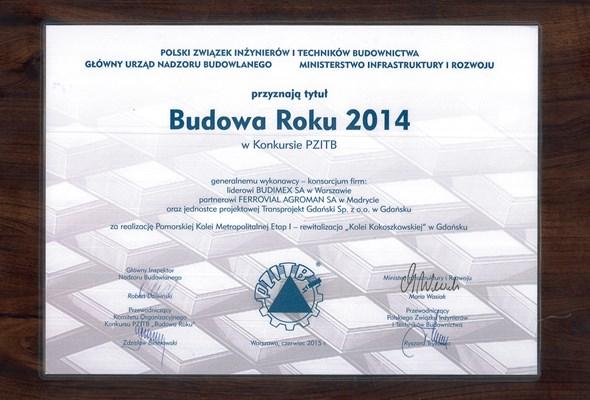Inwestycja Budimeksu i Transprojektu Gdańskiego Budową Roku 2014