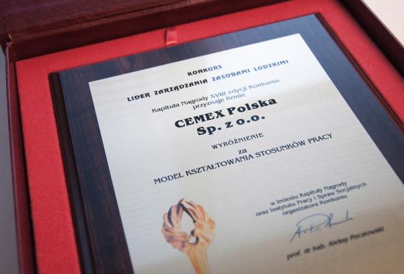 CEMEX Polska wyróżniony w XVIII edycji konkursu Lider Zarządzania Zasobami Ludzkimi