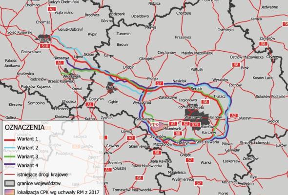 Są cztery warianty S10 i tzw. dużej obwodnicy Warszawy