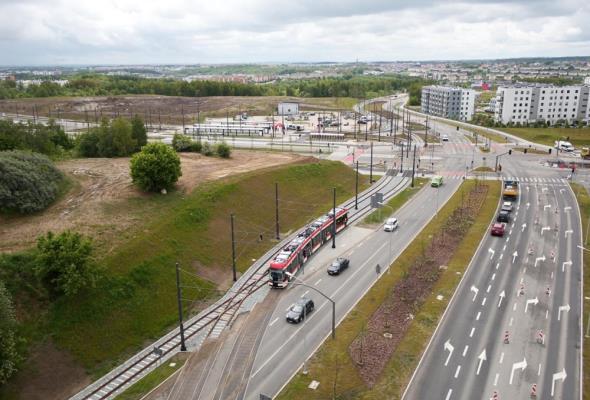 Pierwszy tramwaj na Alei Pawła Adamowicza w Gdańsku