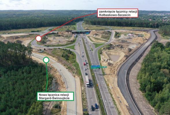 Postępują prace na węźle Szczecin Kijewo. Zmiany dla kierowców