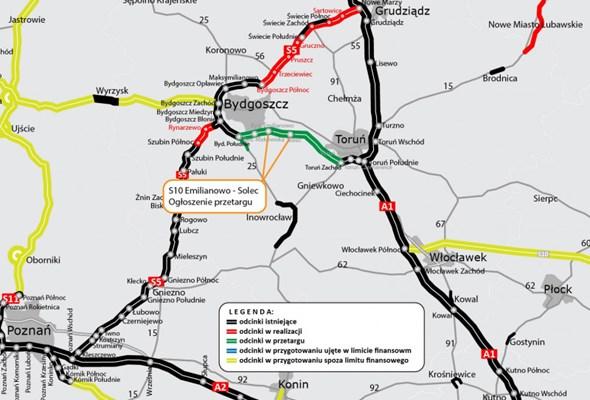 Jest przetarg na trzeci odcinek S10 Bydgoszcz - Toruń