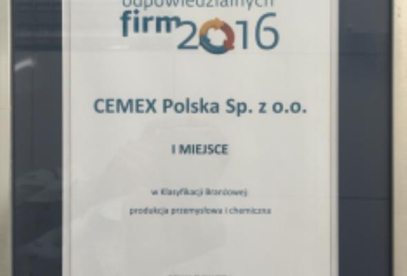 CEMEX Polska najlepszy w Rankingu Odpowiedzialnych Firm 2016