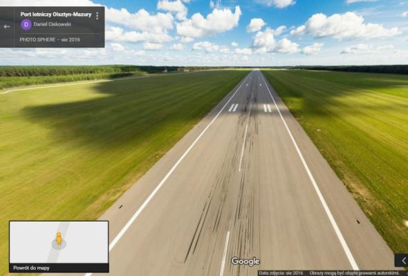 Szymany z pierwszymi na świecie panoramami lotniczymi w Google